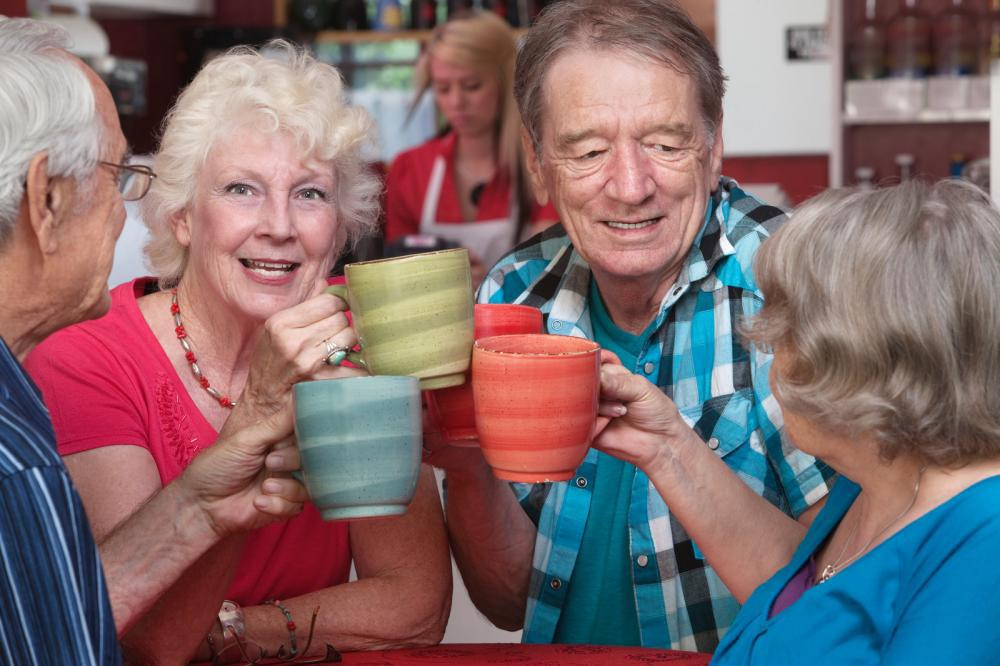 toasting with senior friends